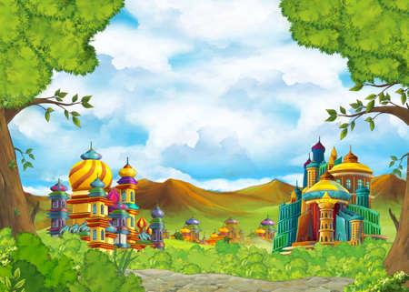 cartoon scene with beautiful medieval castles - far east kingdom - illustration for children