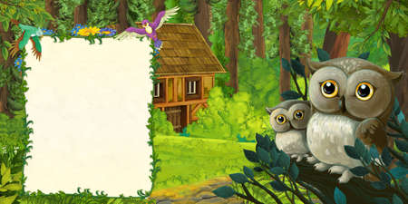 cartoon summer scene with deep forest with family of owls - illustration for children Stock fotó
