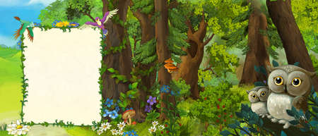 cartoon scene with family of owls in the forest - illustration for children Stock fotó