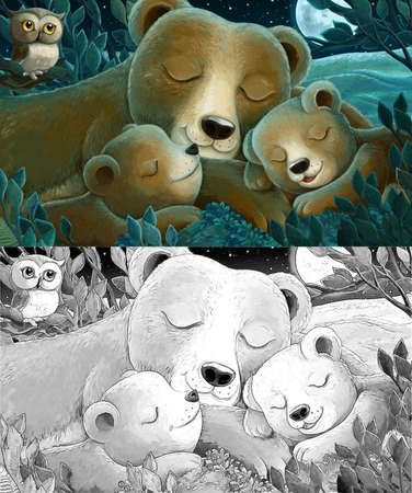 Cartoon scene with family of bears and owl in the forest by night - illustration for children Archivio Fotografico