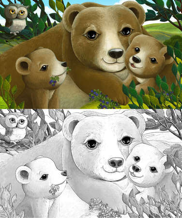 Cartoon scene with family of bears and owl in the forest - illustration for children
