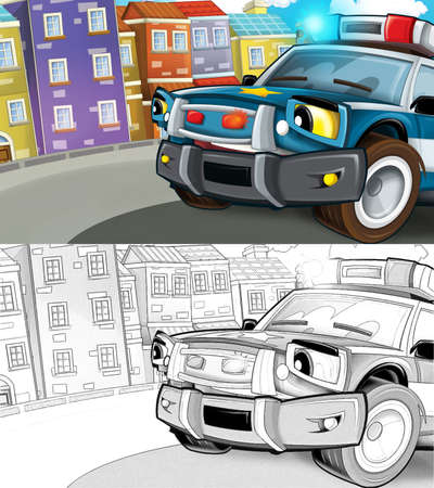 cartoon sketch scene with police car driving through the city - illustration for children