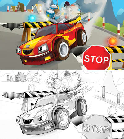 Cartoon sketch scene of police pursuit - police motorcycle chasing racing car - illustration for children Archivio Fotografico