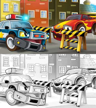 cartoon sketch police car officer on the road block stopping speeding car - illustration for children Archivio Fotografico