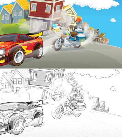 Cartoon sketch scene of police pursuit - police motorbike chasing racing car - illustration for children Archivio Fotografico
