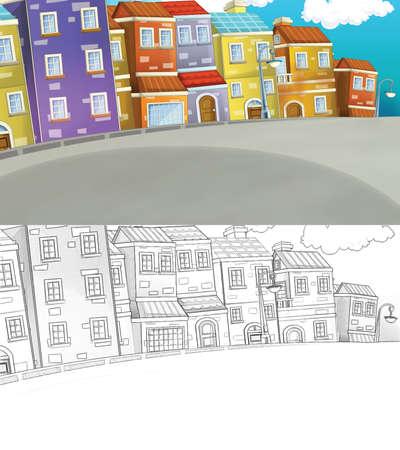 cartoon sketch scene buildings near the street - beautiful day - illustration for children