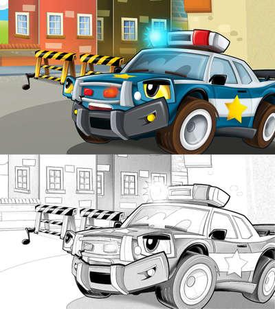 cartoon sketch scene with police car - illustration for children