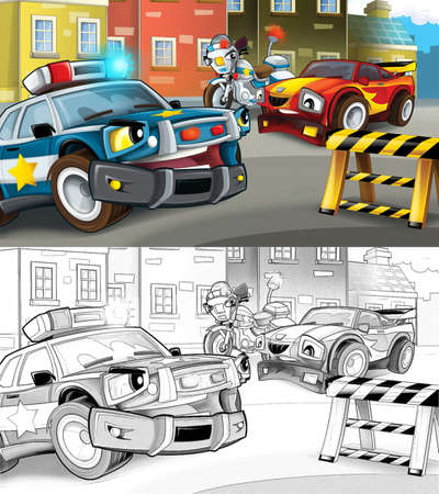 cartoon sketch police car officer and motorcycle on the road block stopping speeding car - illustration for children