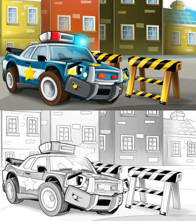 cartoon sketch police car officer on the road block - illustration for children Archivio Fotografico