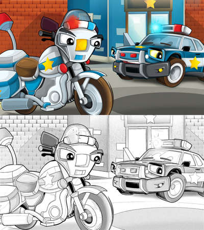 Cartoon sketch scene of police officers talking - car and motorcycle - illustration for children Archivio Fotografico