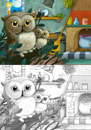 cartoon sketch scene with medieval castle room like kitchen - interior for different usage - illustration for children