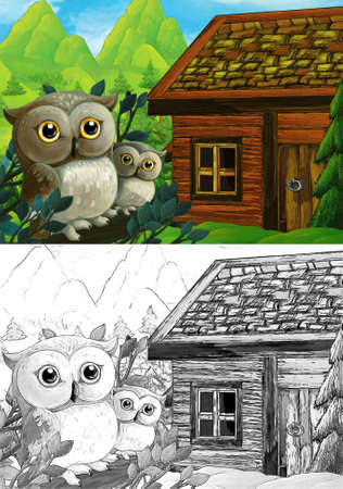 cartoon sketch scene with wooden house on some meadow and nobody on the stage - illustration for children