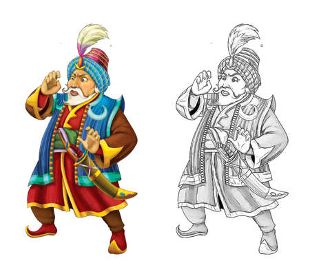 cartoon scene with arabian knight or prince with sword on white background - illustration for children Archivio Fotografico