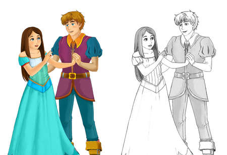 cartoon sketch scene with young married couple - illustration for children Archivio Fotografico