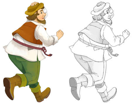 Cartoon hunter with sketch running some activity - illustration for children Archivio Fotografico