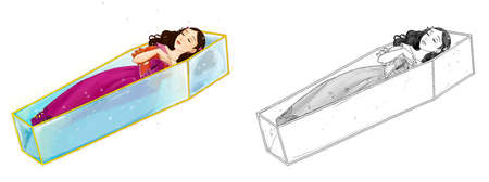 cartoon sketch scene with beautiful princess on white background - illustration for children