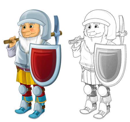 Cartoon dwarf with sketch on white background illustration for children
