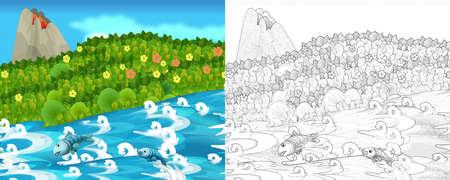 cartoon sketch scene with nature - illustration for children