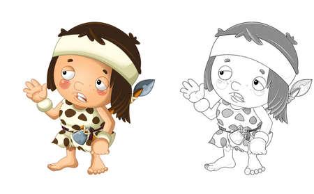 cartoon sketch scene with happy caveman barbarian warrior on white background illustration for children