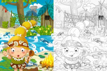 Cartoon sketch scene with prehistoric cavemen - illustration for children