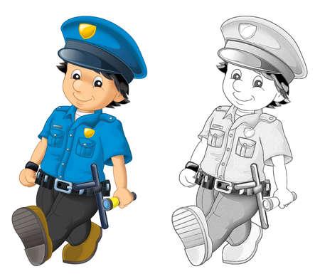 cartoon scene with happy policeman on duty on white background - illustration for children Archivio Fotografico
