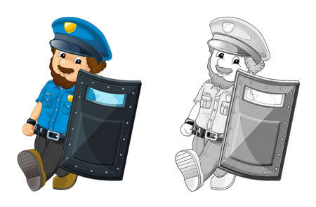 cartoon scene with happy policeman on duty holding bulletproof shield - on white background - illustration for children