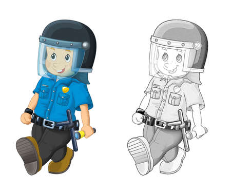 cartoon scene with happy policeman on duty wearing bulletproof helmet - on white background - illustration for children Archivio Fotografico
