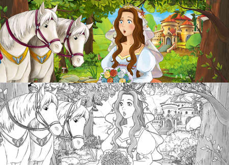 cartoon sketch scene princess in the forest orchard on the journey illustration for children