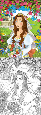 cartoon scene princess in the forest orchard on the journey illustration for children Archivio Fotografico