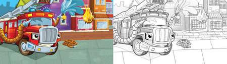 cartoon sketch scene red firetruck - duty - illustration for children Archivio Fotografico