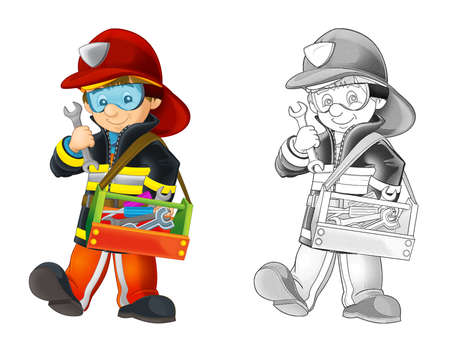 Cartoon sketch fireman with tools - white background - illustration for children