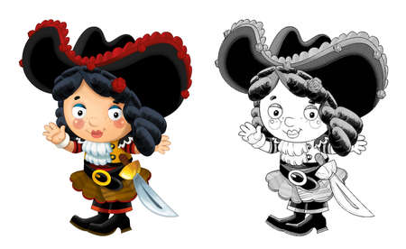 cartoon sketch scene with beautiful pirate girl on white background - illustration for children