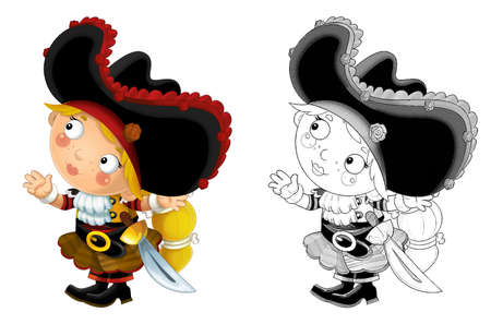 cartoon sketch scene with beautiful pirate girl on white background - illustration for children 免版税图像