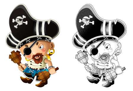 cartoon sketch scene with pirate man captain on white background - illustration for children 免版税图像