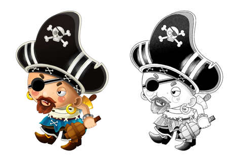 cartoon scene with pirate man captain with sword on his back on white background - illustration for children 免版税图像