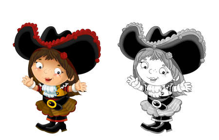 happy smiling cartoon sketch medieval pirate woman standing smiling and looking on white background - illustration for children