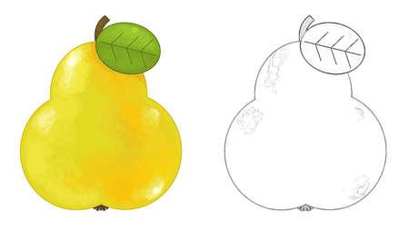 cartoon fruit pear on white background - illustration for children 免版税图像