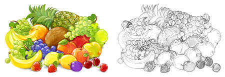 cartoon fruit scene with many different fruit as a meal set on white background - illustration for children