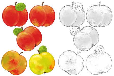 cartoon fruit apple set on white background - illustration for children 免版税图像