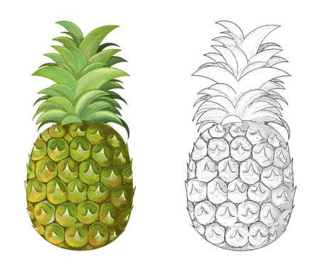 cartoon pineapple on white background - illustration for children