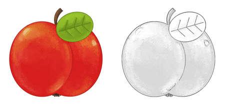 cartoon fruit apple on white background - illustration for children 免版税图像