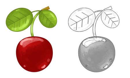 cartoon fruit cherry on white background - illustration for children 免版税图像