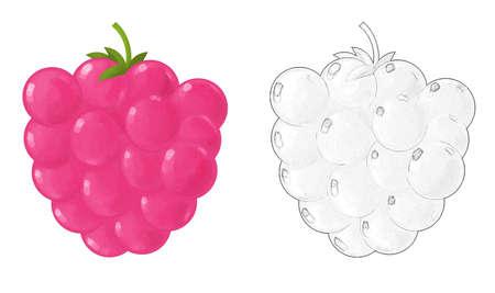 cartoon fruit raspberry on white background - illustration for children 免版税图像