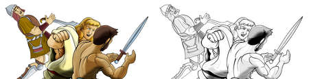cartoon sketch scene with roman or greek ancient character warrior or gladiator on white background - illustration for children