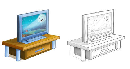 cartoon scene with television device turned on - illustration for children