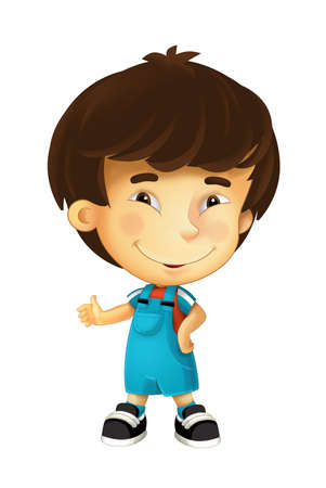 cartoon scene with child asian boy on white background - illustration for children