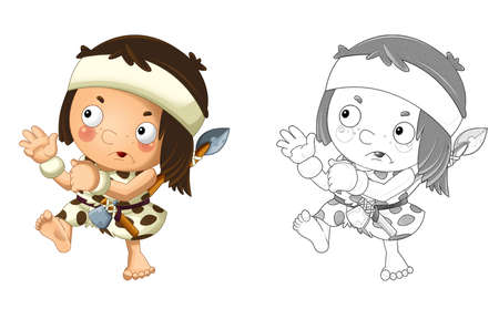 cartoon sketch scene with happy caveman barbarian warrior with spear on white background illustration for children Stockfoto