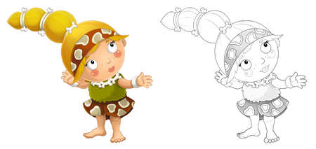 cartoon sketch scene with happy caveman barbarian warrior woman on white background illustration for children