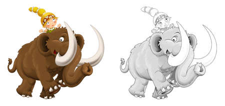 cartoon sketch happy scene with caveman woman on mammoth on white background - illustration for children