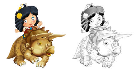 cartoon happy sketch scene with caveman on triceratops on white background - illustration for children